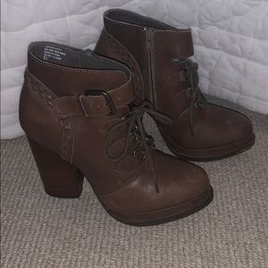 Seychelles Brown Leather Platform Ankle Boots